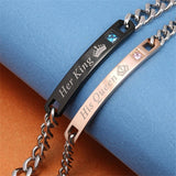 His Queen & Her King | Titanium Matching Bracelets for Couple