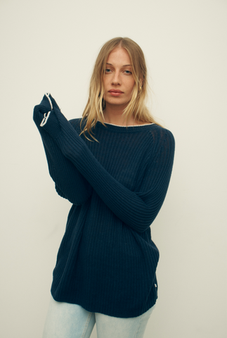 Rib Knit Sweater - Navy/White Tipping
