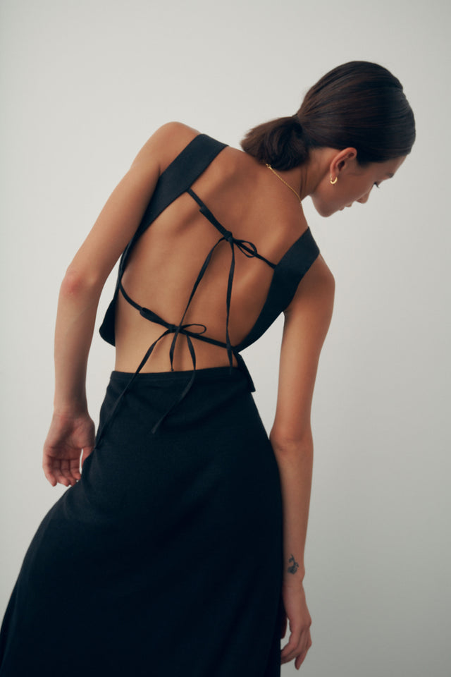 Linen Open Back Top - Black