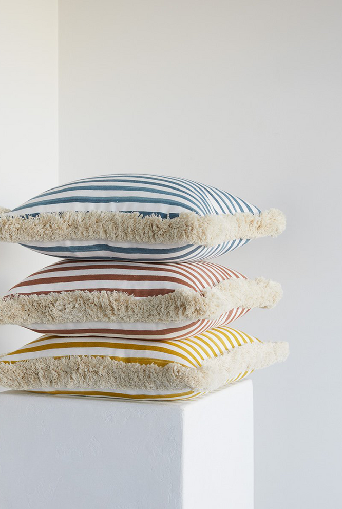 Lucy Montgomery Cushion - Ochre Stripe/Brush Fringe