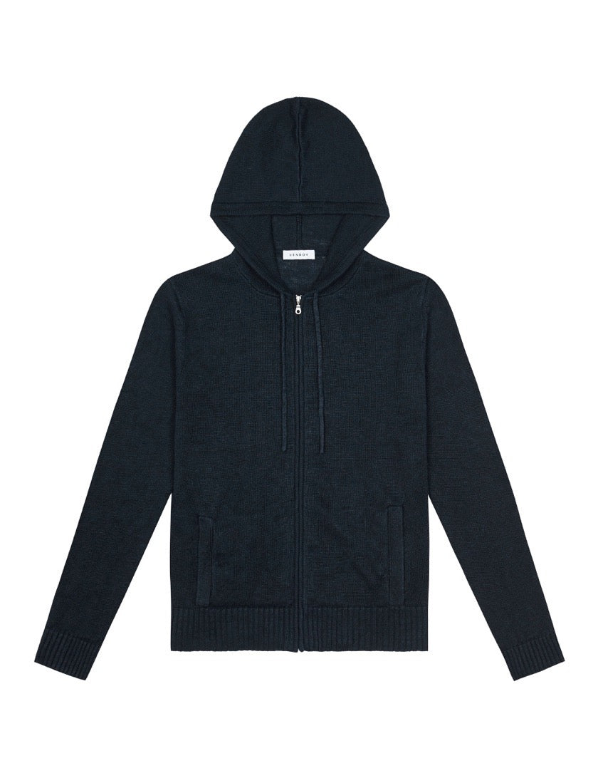 KNITTED LINEN HOODIE - NAVY