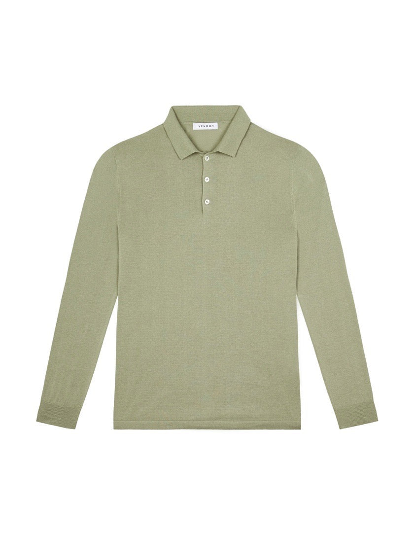 KNITTED LONG SLEEVE POLO - OLIVE
