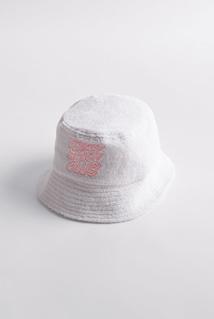 Beach Club Bucket Hat  - White/Pink