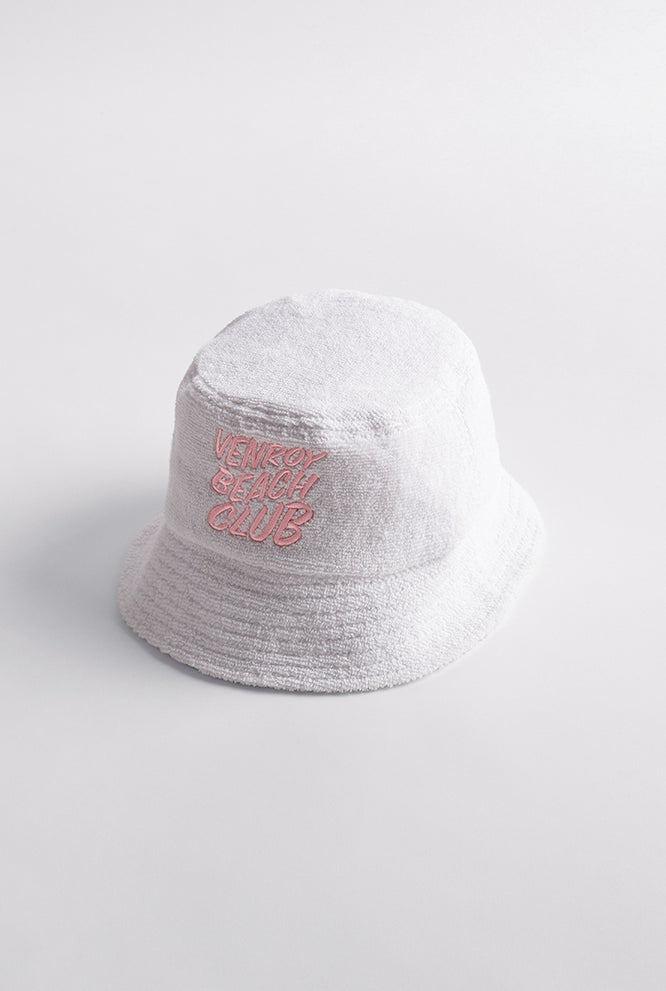 Beach Club Bucket Hat  - White/Cobalt Blue