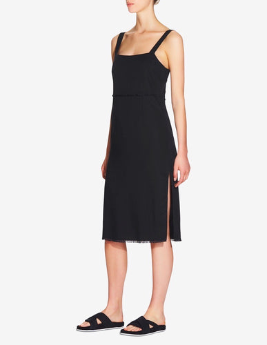 WOMENS TENCEL SIDE SPLIT DRESS - BLACK