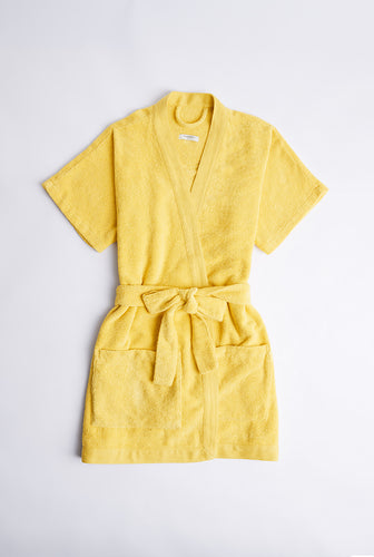 Womens Woven Terry Border Robe - Lemon