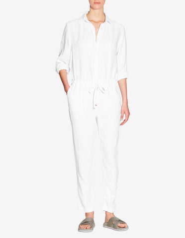 WOMENS LINEN JUMPSUIT - WHITE