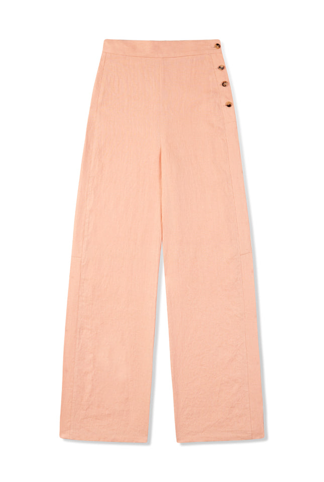 Side Button Pant - Blush