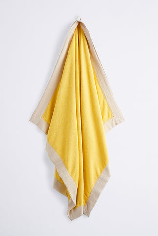 Woven Terry Border Towel - Lemon Oat Border