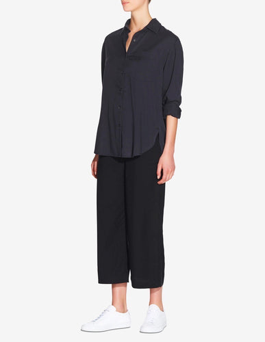 WOMENS OVERSIZED TENCEL SHIRT - NAVY