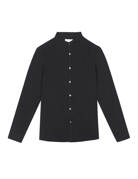 GRANDAD COLLAR TENCEL SHIRT - NAVY