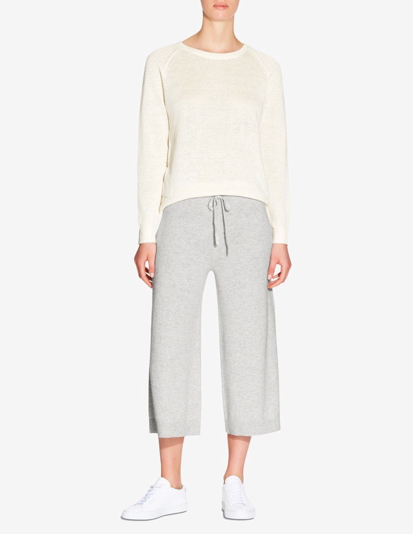 WOMENS KNITTED CASHMERE PANT - GREY MARL