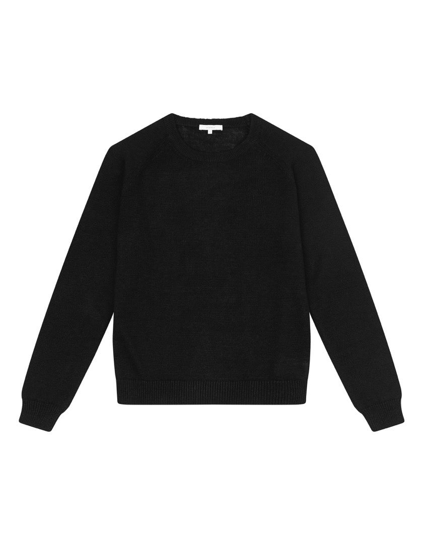WOMENS LINEN RAGLAN SWEATER - BLACK