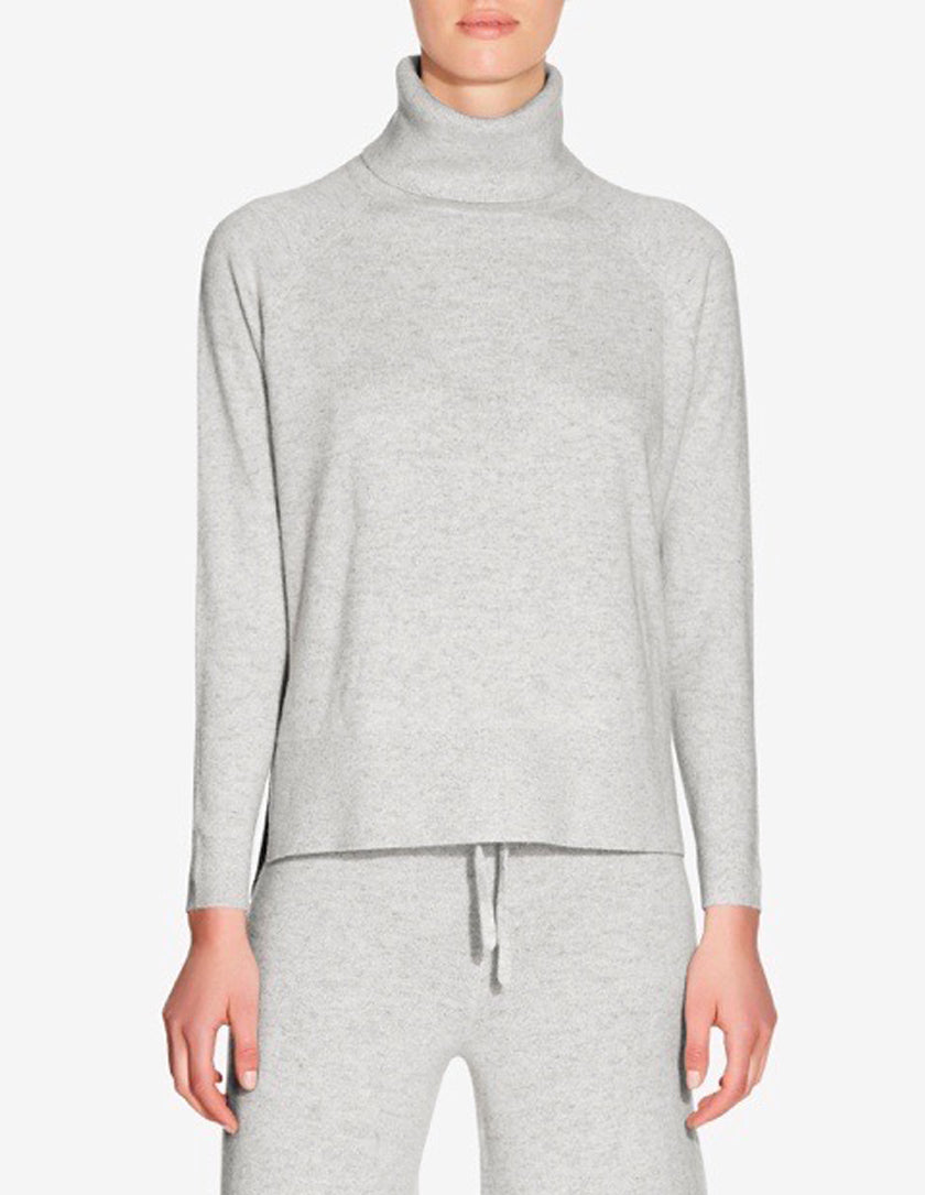 WOMENS CASHMERE ROLL NECK SWEATER - GREY MARL