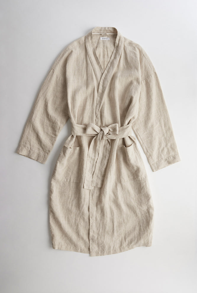 Linen Robe - Holiday Stripe