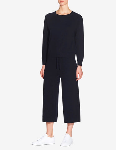 WOMENS KNITTED CASHMERE PANT - NAVY