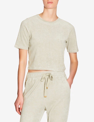 WOMENS TERRY TOWEL CROPPED T-SHIRT - SAGE