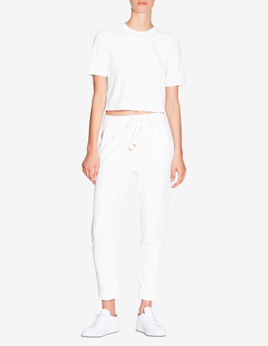 TERRY TOWEL CROPPED T-SHIRT - WHITE