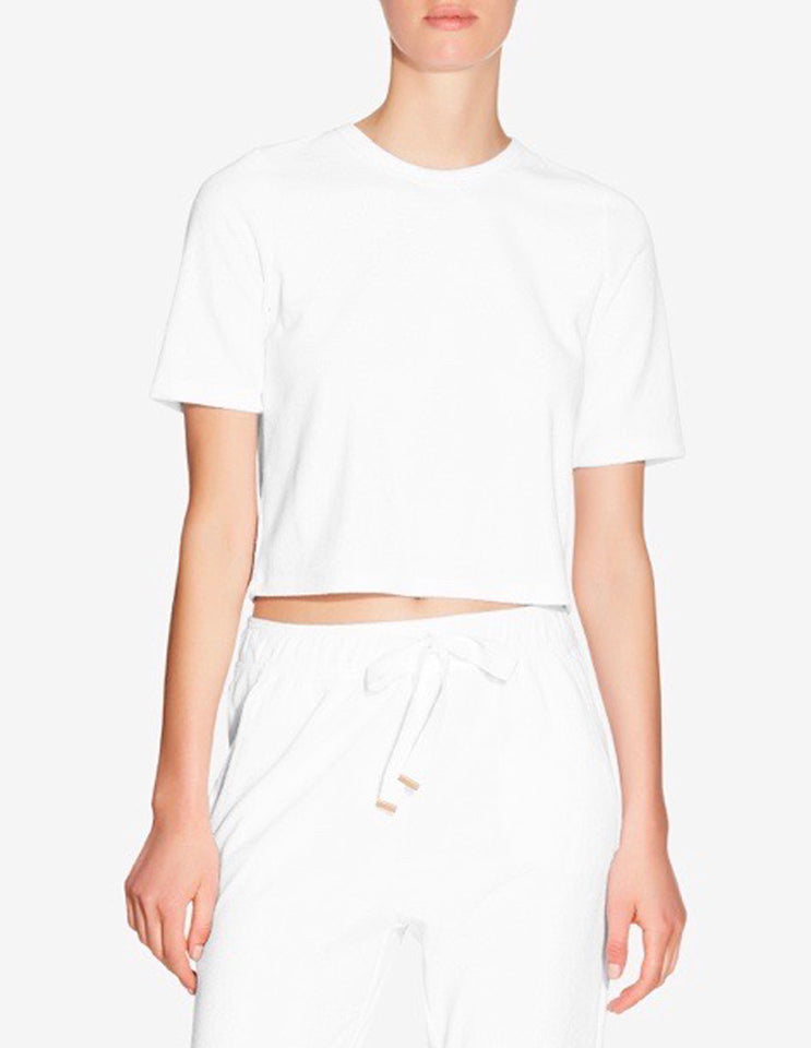 WOMENS TERRY TOWEL CROPPED T-SHIRT - WHITE