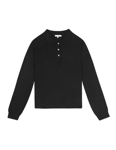 WOMENS LONG SLEEVE KNITTED POLO - BLACK