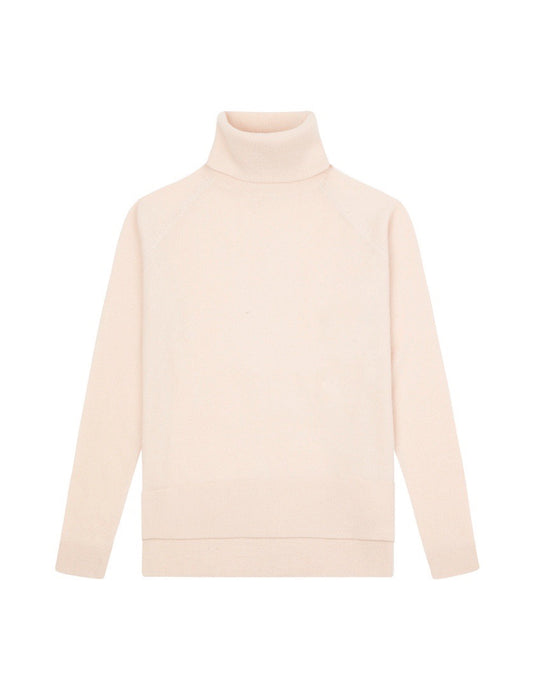 WOMENS CASHMERE ROLL NECK SWEATER - LIGHT PINK