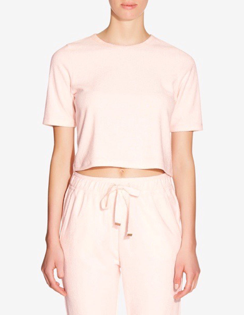 WOMENS TERRY TOWEL CROPPED T-SHIRT - LIGHT PINK