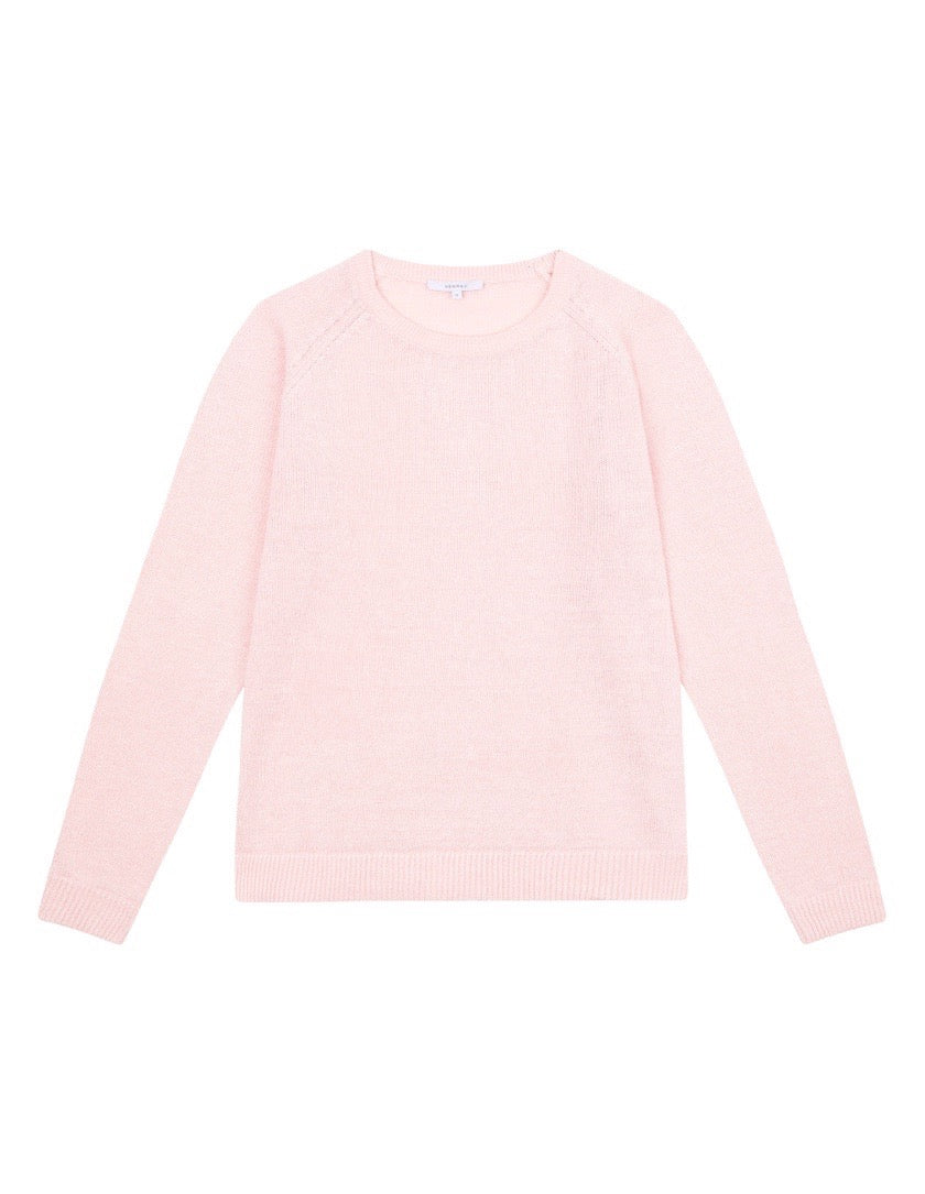 WOMENS LINEN RAGLAN SWEATER - LIGHT PINK