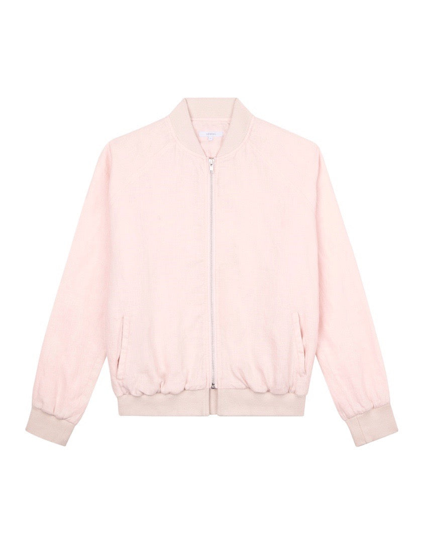 WOMENS LINEN BOMBER JACKET - LIGHT PINK