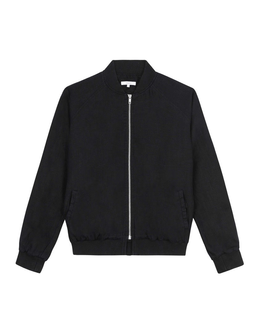 WOMENS LINEN BOMBER JACKET - BLACK
