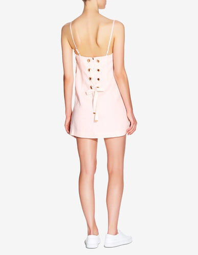 WOMENS LACE UP LOUNGE DRESS - LIGHT PINK