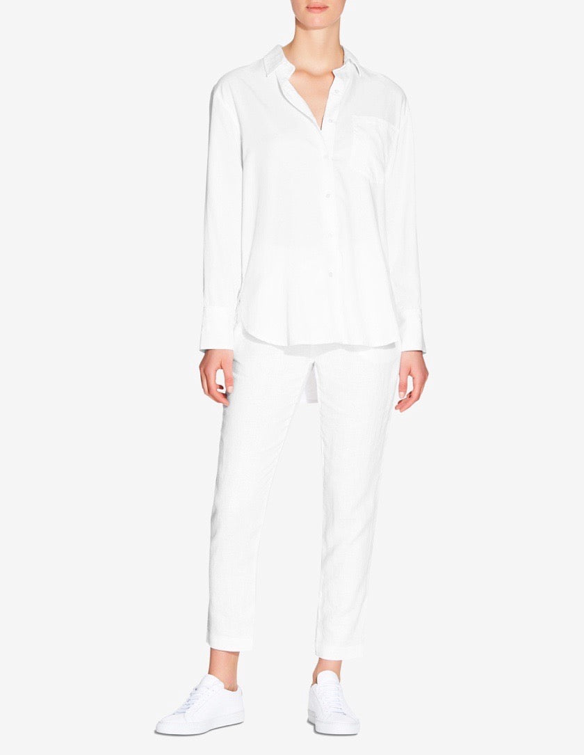 WOMENS OVERSIZED TENCEL SHIRT - WHITE