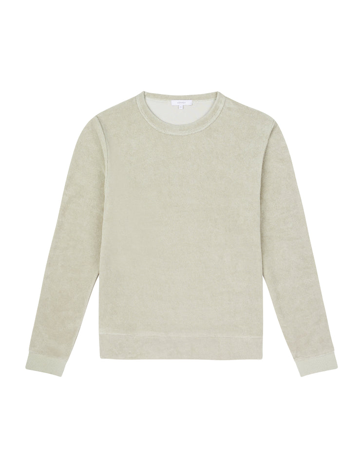 WOMENS TERRY TOWEL SWEATER - SAGE