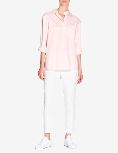 WOMENS OVERSIZED STAND COLLAR TENCEL SHIRT - LIGHT PINK