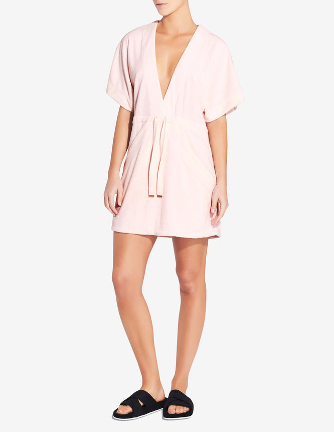 Terry Towel Robe Dress - White