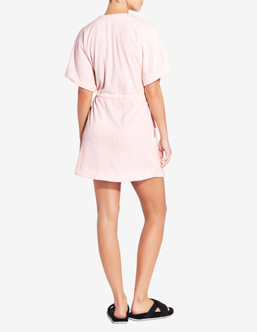 Womens Terry Towel Robe Dress - Light Pink