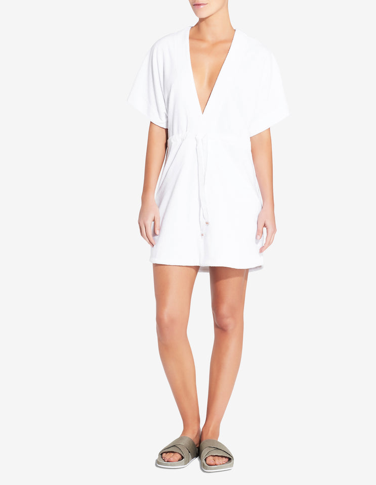 Womens Terry Towel Robe Dress - White