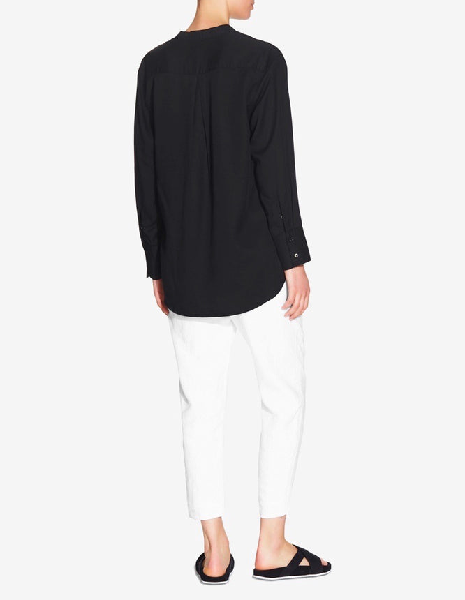 WOMENS OVERSIZED STAND COLLAR TENCEL SHIRT - BLACK