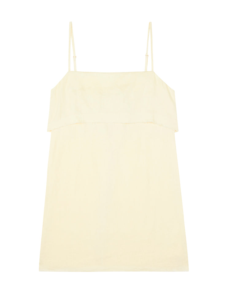 WOMENS FOLD OVER MINI DRESS - YELLOW