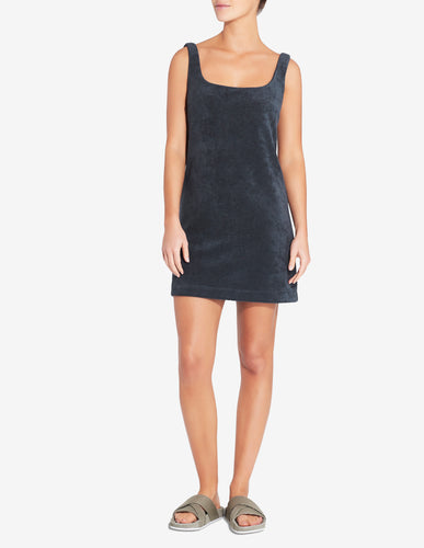 Terry Towel Mini Dress - Navy