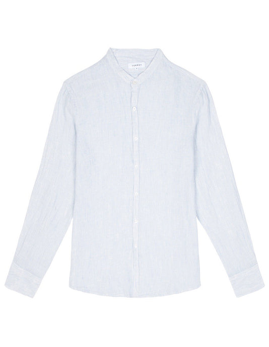 Grandad Collar Shirt - Light Blue Mini Stripe