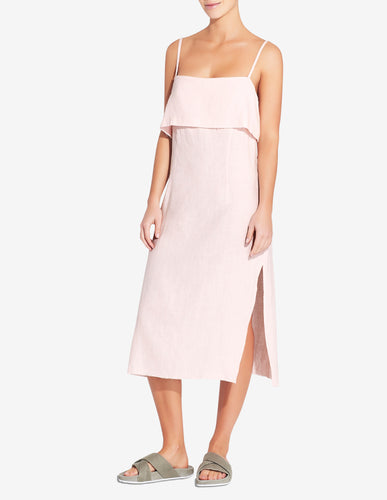 WOMENS FOLD OVER SIDE SPLIT DRESS - LIGHT PINK