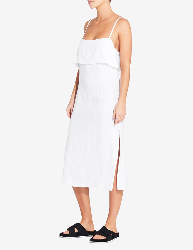 WOMENS FOLD OVER SIDE SPLIT DRESS - WHITE