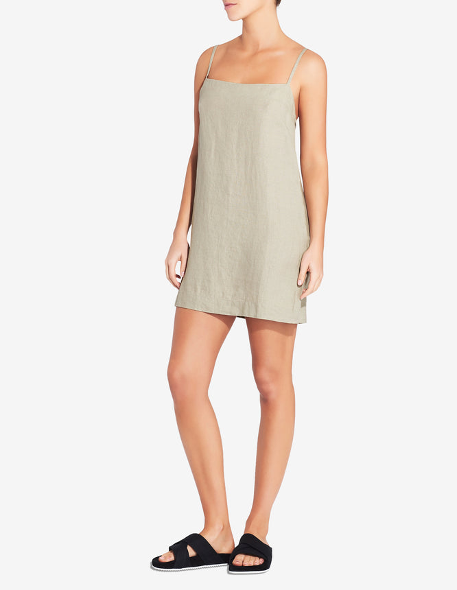 WOMENS LACE UP LOUNGE DRESS - SAGE