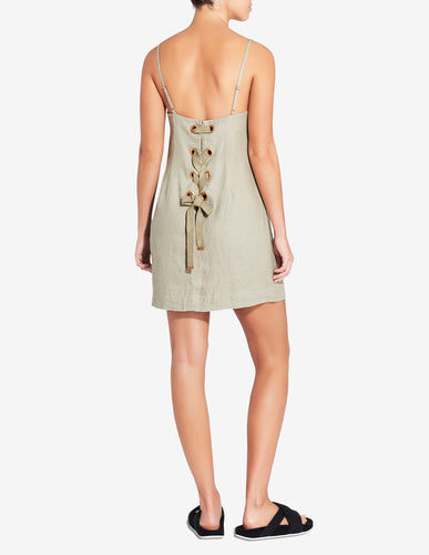 LACE UP LOUNGE DRESS - SAGE