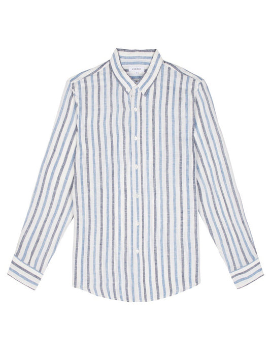Linen Shirt - Navy / Blue Stripe