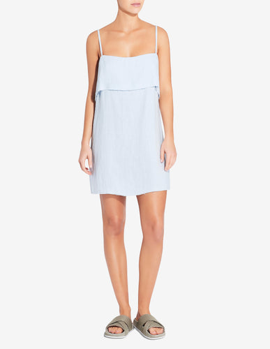 FOLD OVER MINI DRESS - LIGHT BLUE