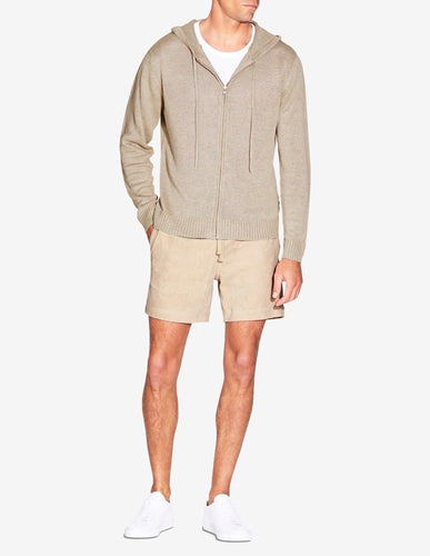 KNITTED LINEN HOODIE - TAUPE