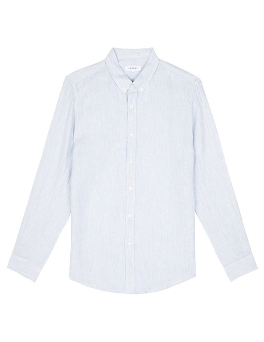 Linen Shirt - Light Blue Mini Stripe