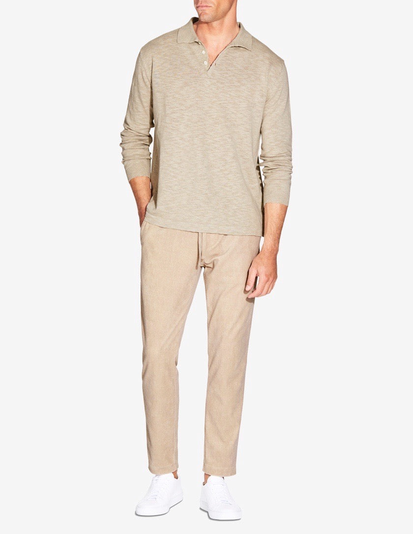 KNITTED LS LINEN POLO - TAUPE