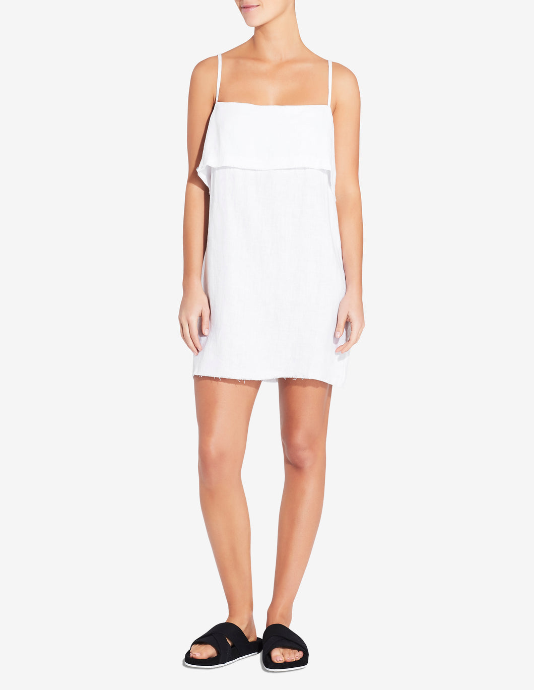 FOLD OVER MINI DRESS - WHITE